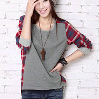 Crew Neck blouses - New Arrivals Women Girl Plaid Checked Long Sleeve Casual Dress Loose Crew Neck Top Blouse AX102