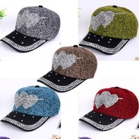 Wholesale 2015 new arrive winter fashion hats women Hats for Baseball Cap Double Heart knitted rhinestone for hats snapback caps