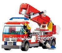 Cheap Kazi Fire Fight Series Fire Truck Building Block Sets 244+pcs Enlighten Educational DIY Construction Bricks toys 8053