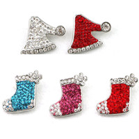 Wholesale Factory high quality Christmas Ginger Snap Buttons Full Rhinestone Xmas Stocking Hat Metal Button Charm Jewelry Gift