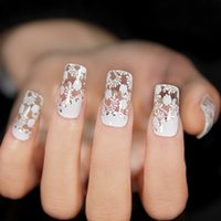 art section - Lovely False Nails Short Section French Manicure Nail Art d Nail Stickers Water Decal Design