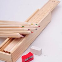 Wholesale 1 box Cute Colored Pencil Wooden Box with Ruler Pencil sharpener for Kids Gifts