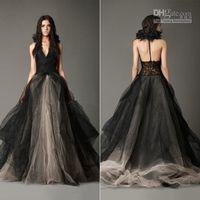 angelina wedding dresses - 2016 Vintage Black Julie Princess Halter Wedding Dresses Angelina Lace Appliques Bridal Gown Tulle Birdal Gown Shabby