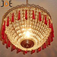basket chandelier - New arrivals Crystal chandelier with red droplets Baskets Vintage Style Light fixtures Home Decor lamp for kitchen bedroom