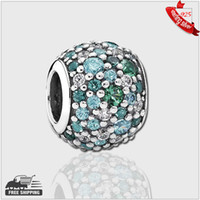 Wholesale 925 Sterling Pave Silver Charm beads with mixed shades of green cubic zirconia and green crystal Fit for Pandora Bracelet
