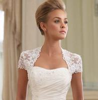 Wholesale Amazing Elegant Cap Sleeve Lace Custom Made Wedding Jacket Bridal Wraps Bolero