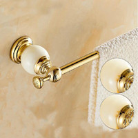 bath wall hanger - And Retail Luxury Golden Brass Wall Mounted Bathroom Towel Rack Holder Marble Hangers Single Bar Hanger