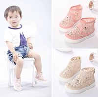 Wholesale Hot Girls Summer Princess Sandals Children s Net Fabric Fhinestone Canvas shoes Kids Lace Sneakers
