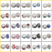 Wholesale Colorful DIY Charms Bracelets Loose Beads European Ceramic Alloy Beads Women Jewelry Making QCK