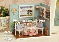 Wholesale 2015 Fanny D DIY Dollhouse Happy Kitchen Cute Wooden Doll House with Furniture Educational Toy for Children