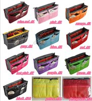 Wholesale Portable Double Zipper Bag Insert liner purse Organiser Handbag Women Travel Purse Pouch Bag in Bag Organizer Cosmetics Storage
