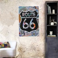Wholesale Vintage Route Metal Tin Sign Chic Pub Bar Tavern Garage Retro Home Wall Decor order lt no track