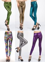 gold leggings - Women New Sexy Fish Scale Pattern Leggings Metallic Clubwear Fashion Pants High waisted Casual wear B7070