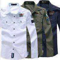 aeronautica militare casual - Spring for men Aeronautica Militare Air Force One shirt Causal embroidery fashion brand men long sleeved shirts
