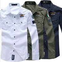 Wholesale Spring for men Aeronautica Militare Air Force One shirt Causal embroidery fashion brand men long sleeved shirts