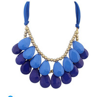 big chunky necklaces wholesale - New color hot Arrival big gem necklaces pendants Trendy fashion bubble bib choker chunky statement necklace women jewelry