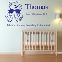 baby animal names - personalised name vinyl wall sticker Baby nursery bedroom quote decal