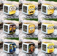Wholesale Despicable me digital clock Lovely Minion Alarm Clock With Changing Colors Cute Cartoon LED Clock christmas gifts