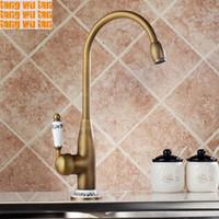 antique wash basins - All Copper Antique Sink Faucet Kitchen Wash Basin Hot And Cold Rotating European Blue White Porcelain