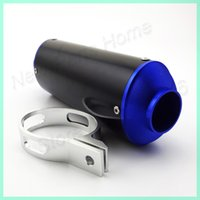 Wholesale CNC Blue Exhaust Muffler With Clamp For cc cc cc cc cc cc cc SSR YCF Thumpstar Pit Dirt Bikes Go Kart order lt no track
