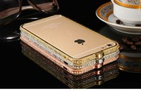 Wholesale Bumper For Iphone I6 Plus Luxury Crystal Rhinestone Diamond Bling Aluminum Case Cover For iPhone Plus Metal Frame