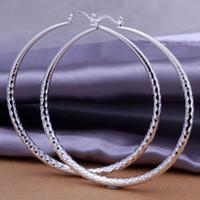 Cheap Wholesale-925 silver earrings 925 sterling silver fashion jewelry earrings beautiful earrings Round section prismatic Hoop - Large