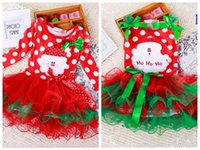 infant girl dresses - Retail Baby Girls christmas red dress costume outfits for toddler little kids children infant X mas tutu skirts T babies holiday dresses