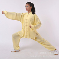 Wholesale and retail of heavy cotton and martial arts practice tai chi clothing costumes and men s and women s light blue