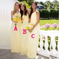 affordable bridesmaid gowns - Under Affordable Mix and Match Light Yellow Bridesmaid Dresses Daffodil Sleeveless A Line Chiffon Wedding Party Gown Plus Size