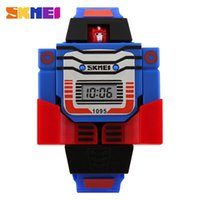 auto plastic toy - SKMEI Kids LED Fashion Digital Children Watch Cartoon Sports Watches Robot Transformation Toys Boys Wristwatches Relogio Relojes