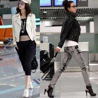 Cheap New 2014 Autumn Women Clothing Turn-down Collar Zipper Slim Fit Short Punk Rock Rivet PU Leather Jacket Coats, 6 Colors, M, L