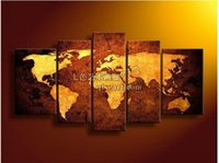 Cheap handmade 5 piece modern abstract decorative world map pictures oil painting on canvas wall art for living room home decorations