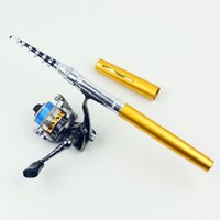 best spinning rod - 1 m Carbon Fiber New Best Pocket Pen Fishing Rod Aluminum Alloy Fishing Rod Pole With Stainless Steel Spinning Wheel Reel Combe