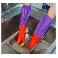 Wholesale Durable Kitchen Wash Dishes Cleaning Waterproof Long Sleeve Rubber Latex Glove