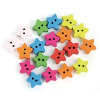 Wholesale 100 Fashion Mix Colored Five pointed Star Shaped Wooden Button Cloth Buttons Drop shipping Wooden Button