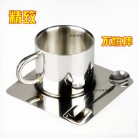 Wholesale Stainless steel oz double insulated Coffee Mug simple high grade three piece with the dish