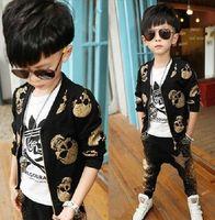 Wholesale Autumn children cotton jacket boys girls gold Skull printing jacket Cardigan Harem Pants sets kids leisure outwear sets1689