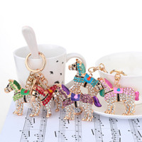 Wholesale New Arrival Aureate Horse Pendant Key Ring Key Chain Hollow Shinning Rhinestone Keychain Fashional Jewelry for Women J0491