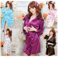 Wholesale Hot selling Hot sale colors Sexy Lingerie Satin Sleepwear Silk Detail Robe and G String Sexy Sleepwear Nightdress