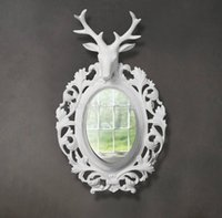 Wholesale Resin deer craft wall home decoration wall fashion animal mirror head crafts wall birthday gift home decor