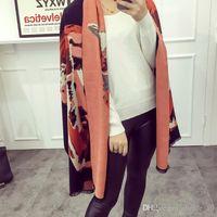 Wholesale LJJG80 New Winter Scarf New Design Woman Tauren Pattern Scarf Warm Soft Wool Cashmere Shawl Tippet Pashmina Cappa