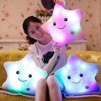auto glow lights - Luminous Stuffed LED Light Up Plush Glow Lucky Star Pillow Auto Color Rotation Illuminated Pentagram Shaped Cushion Gift