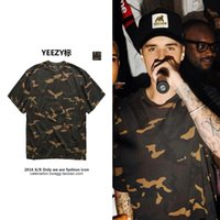 Cheap 2016 Best Quality Mens Womens Lovers Anti- Pilling Yeezy Season 1 Cam Camouflage Cotton Crew Neck Sleeve T Shirt S-XL Camouflage Clothing