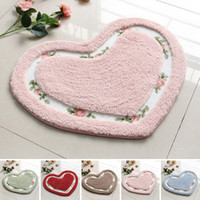Wholesale New Arrival Love Heart Bathroom Rug Doormat Non Slip Mat Toilet Floor Carpet Wedding Decoration Kitchen Mats Seat Cushion JI0056 Smileseller