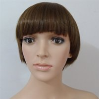 good quality wigs - Graceful Light Brown Ladies Short Straight Heat Resistant Hair Wigs with Flat Bangs Good Quality and Cheap Short Synthetic Wigs Hairpieces