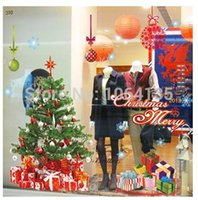 arrange living room - Santa wall stickers shop windows arranged in a lively atmosphere decorated Christmas tree