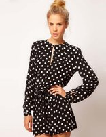 Wholesale 2015New Fashion Style Polka Dot Jumpsuits Women Summer New Fashion Style Polka Dot Jumpsuits Women Summer Long Sleeve Empire Waist Strap