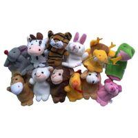 Cheap 12 Pcs  Set Soft Plush Twelve Symbolic Animals Finger Puppet Set Children Story Telling Helper Dolls Toys For Kids Baby