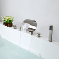 brushed nickel - Nickel Brushed Bathroom Five Holes Waterfall Hand Shower Bathtub Tub Faucet