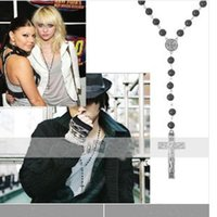 rosary beads - Mens Beckham Black Rosary Beads Cross Pendant Necklace